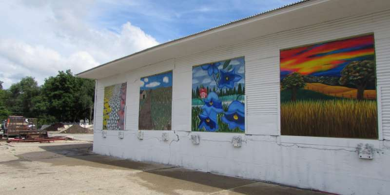 murals, side of building, paintings