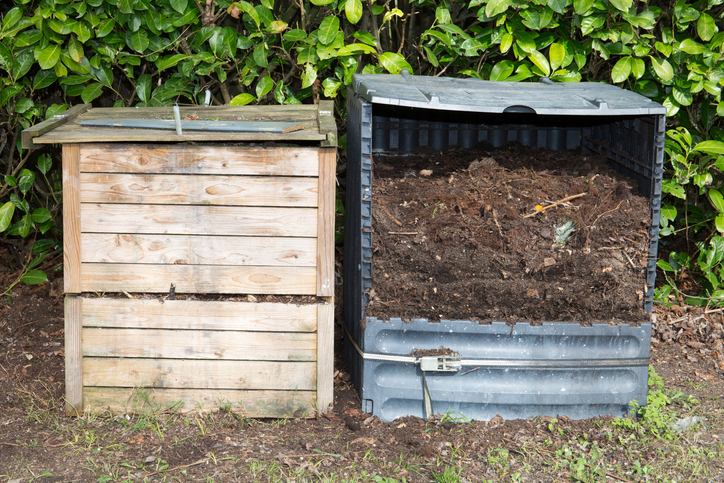 Two Compost Bins In A Garden