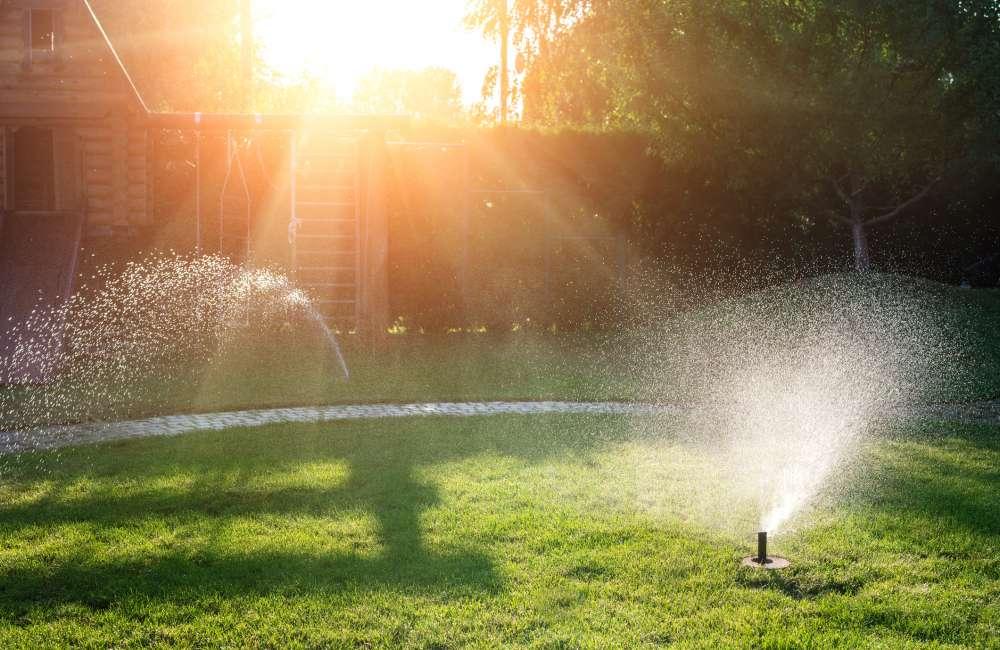 Irrigation system working in yard